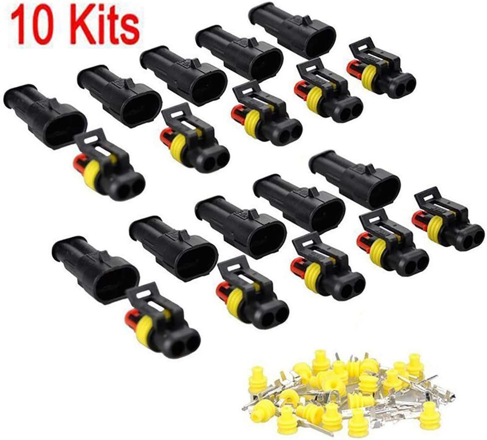 Confezione da 10 Accessori per Auto Impermeabili qhtongliuhewu Set di connettori elettrici a 2 Vie
