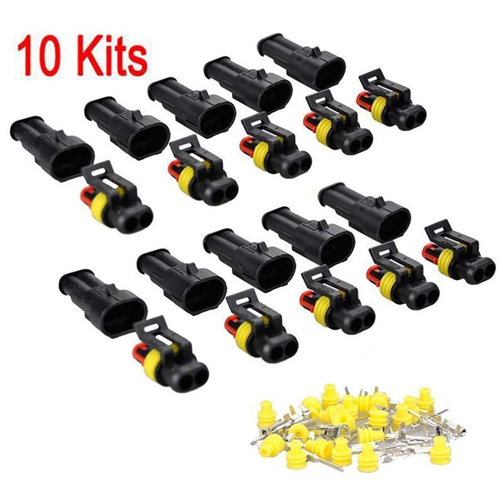Dandeliondeme 10 Kit Spina Spina 2 Pin Way Sealed Waterproof Electrical Wire Spina Auto Attrezzi per Moto Scooter Auto Truck Quad Bike Trike Caravan Marine Jet Ski Barche