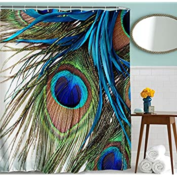 Peacock Shower Curtain By GoodbathPeacock Feather Eye Waterproof Fabric Bath Curtains72
