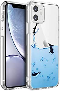 Eouine for Apple iPhone 11 Case, Phone Case Transparent Clear with Pattern Ultra Slim Shockproof Soft Gel TPU Silicone Back Cover Bumper Skin for Apple iPhone11 Smartphone (Penguins)