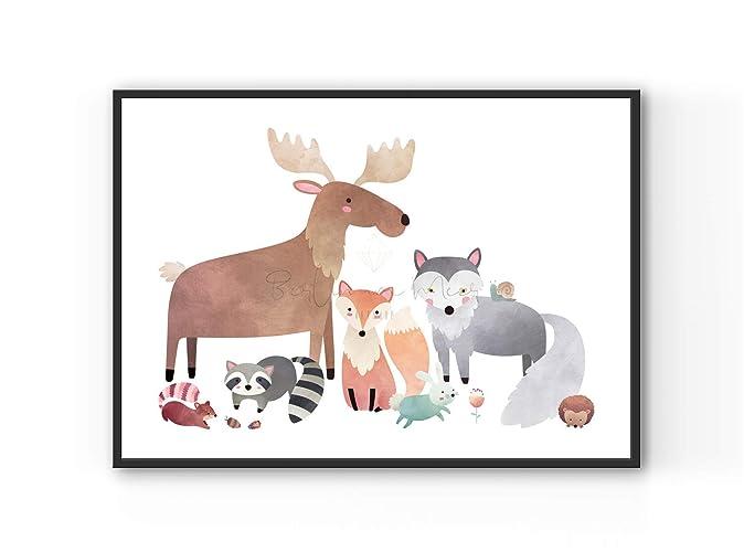 26c0239495a5e4 DIN A4 Kunstdruck Poster WALDFREUNDE °2 -ungerahmt- Tier