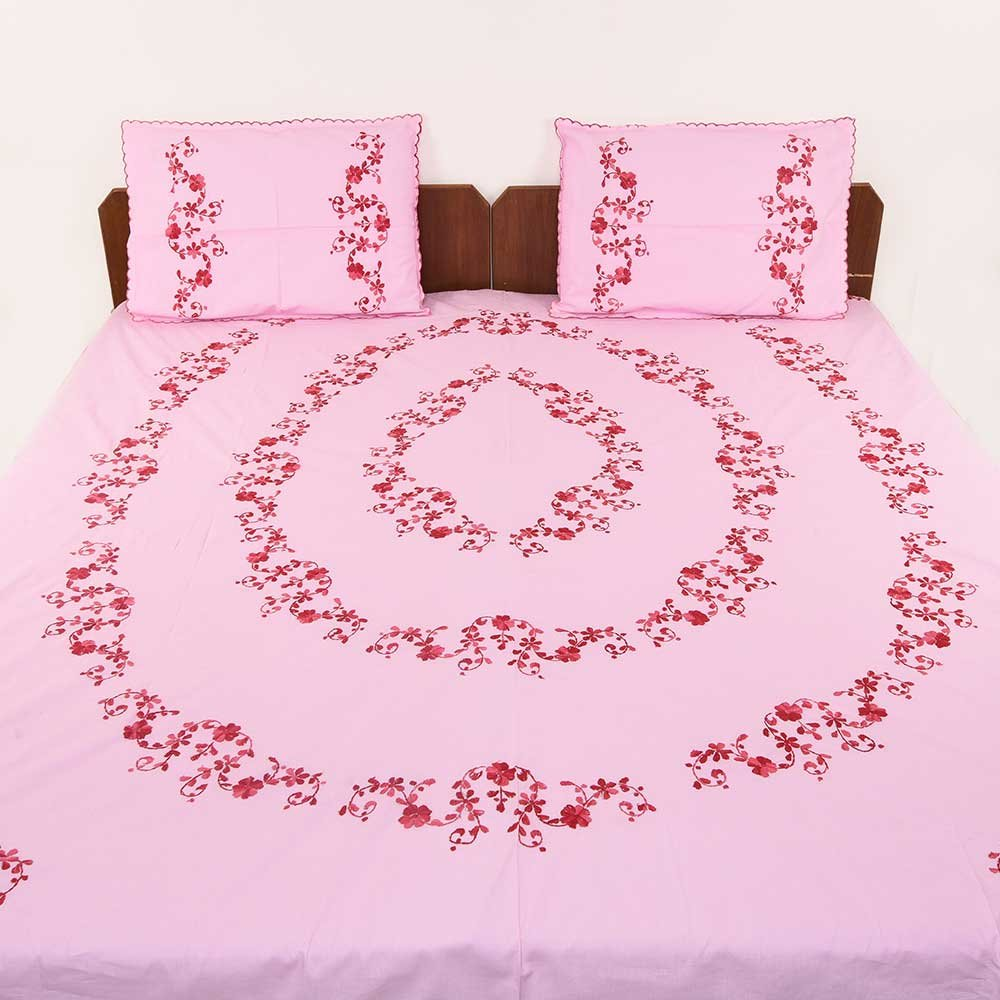 IndianShelf Handmade Decorative Pink Bedsheet with Embroidered Bed Linen Red Flowers and Leaves Bedcover