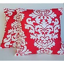"Two deep pink premier prints pillow cover, 16"", cushion, decorative throw pillow, decorative pillow, accent pillow, pillow case"