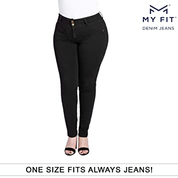 c9d5b8df536ad My Fit Jeans- SIZE 14-20 BLACK: Women's Stretch Denim Jeans with Pockets