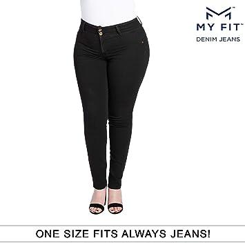 5757f96a7c695 My Fit Jeans- SIZE 14-20 BLACK: Women's Stretch Denim Jeans with Pockets