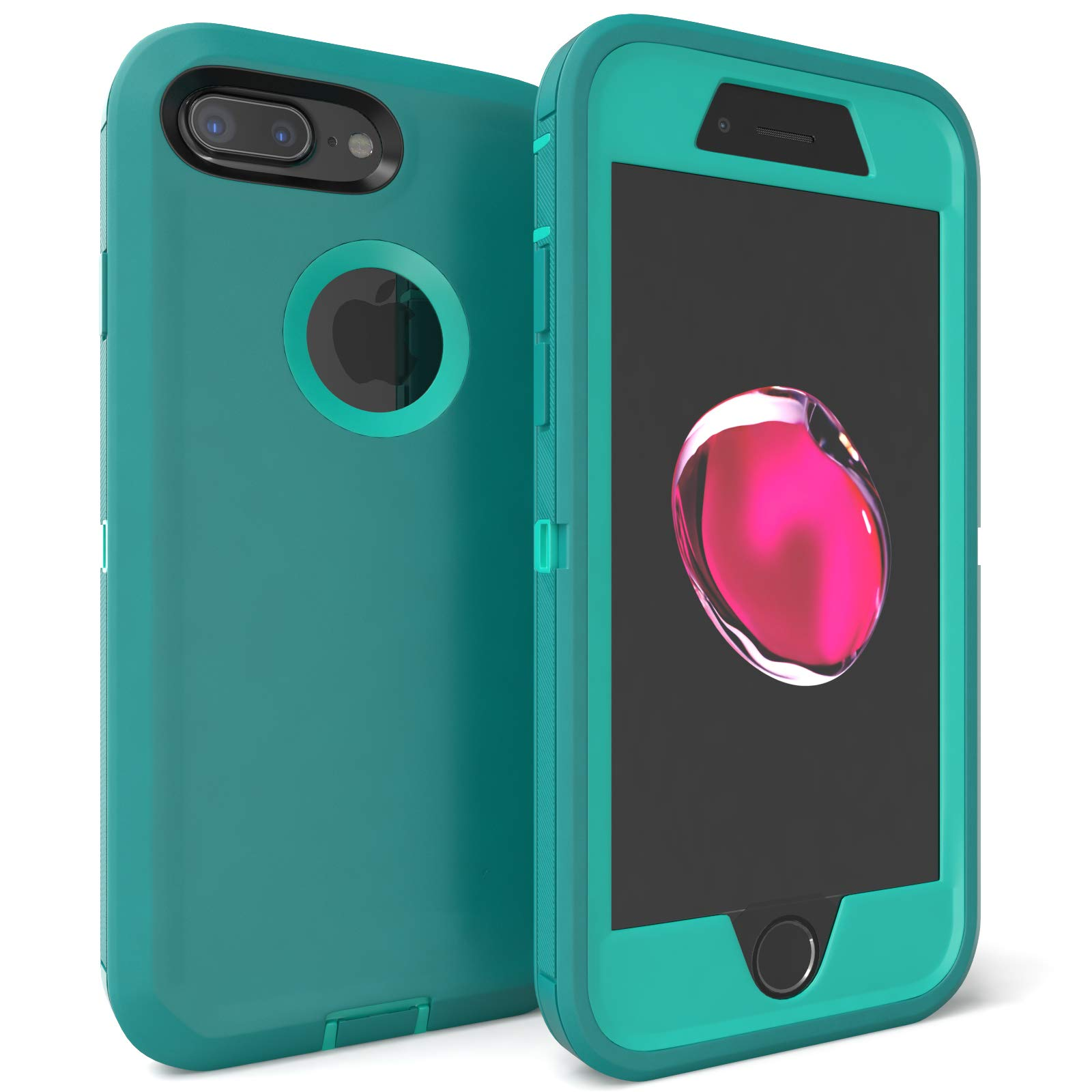 iPhone 7 Plus Case, Viero Defender Heavy Duty Rugged Impact Resistant Full Body Protective Armor Protection Belt Clip Built-in Screen Protector Case Cover for Apple iPhone 7 Plus - Teal/Teal