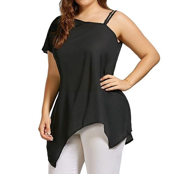 Camiseta Tallas Grandes Un Solo Hombro Atractivo Mujer LHWY, Blusa Color SóLido con Irregular Dobladillo