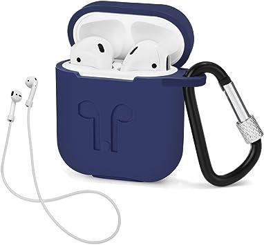 LIKDAY Estuche con Cubierta Protectora de Silicona con mosquetón para AirPods: Amazon.es: Electrónica