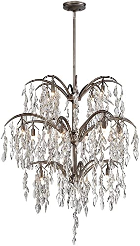 Minka Metropolitan N6867 278 Bella Flora Sixteen Light Chandelier Silver Mist Finish With Frosted Glass Amazon Com
