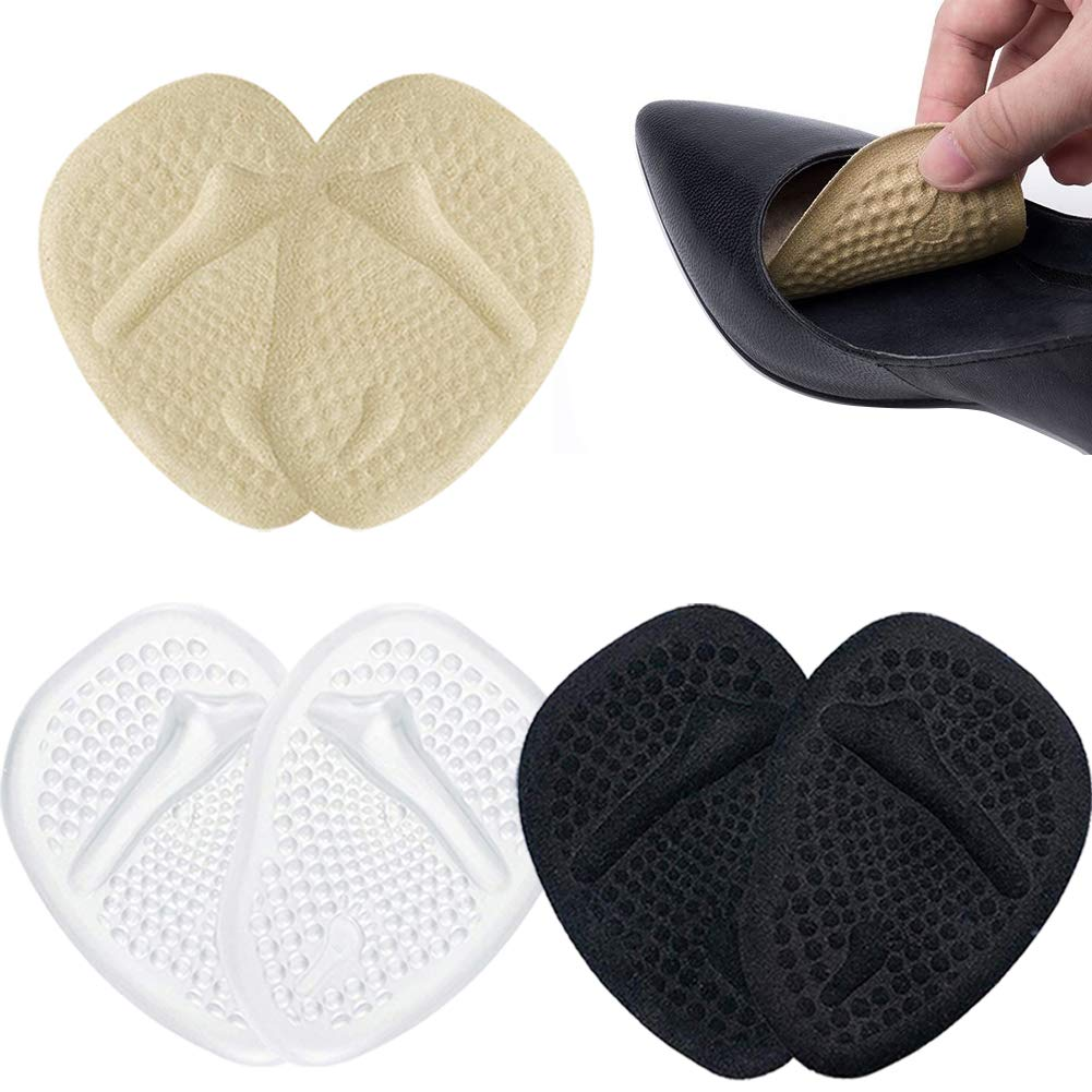 Reusable Ball of Foot Cushions for Women High Heels, 3 Pairs Comfort Metatarsal Pads to Pain Relief ( Beige, Clear, Black )