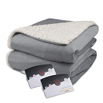 Biddeford Velour Sherpa Electric Blanket