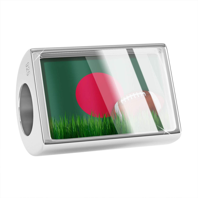 NEONBLOND Custom Charm Football with Flag Bangladesh 925 Sterling Silver Bead
