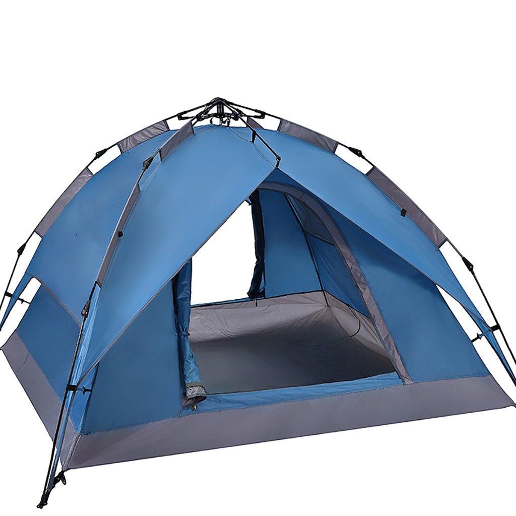 Field tent Tienda al aire libre 3-4 espesamiento automático lluvia 2 tienda de campaña (Color : Azul marino)
