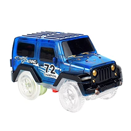 Kids Toy Luminous Electric Rail Vehicle Track Jeep Car With