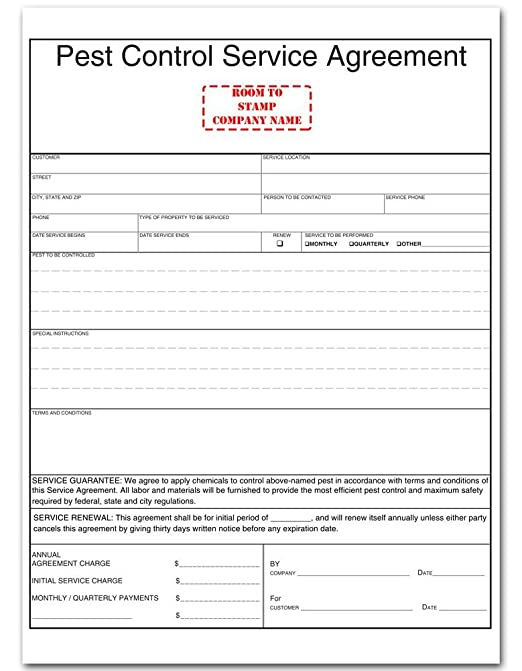 AmazonCom  Pest Control Service Agreement Form  Blank Purchase
