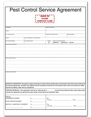 agrement forms Amazon.com : Pest Control Service Agreement Form : Blank Purchase ...