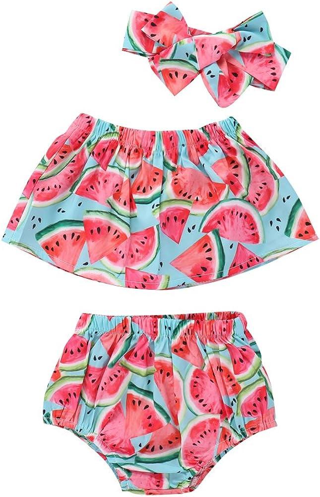 Shorts Slinkaslp 3PCs Newborn Infant Baby Girl Watermelon Fruit Top 0-6 Months Headband Summer Beach Coverup