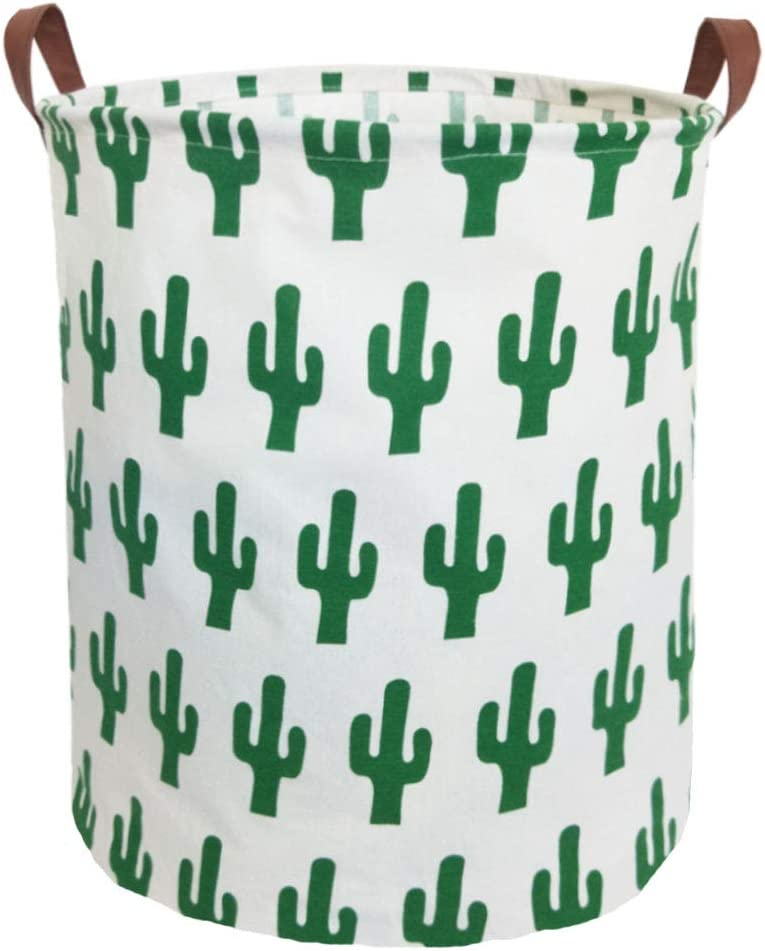 ESSME Laundry Hamper,Collapsible Canvas Waterproof Storage Bin for Kids, Nursery Hamper,Gift Baskets,Home Organizer(Cactus) …