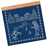 Groovi Parchment Embossing Template ~ Winter Scene Children, GRO40448