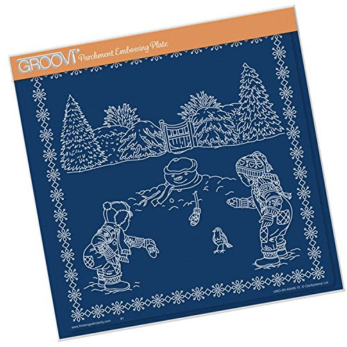 Groovi Parchment Embossing Template ~ Winter Scene Children, GRO40448 by Groovi