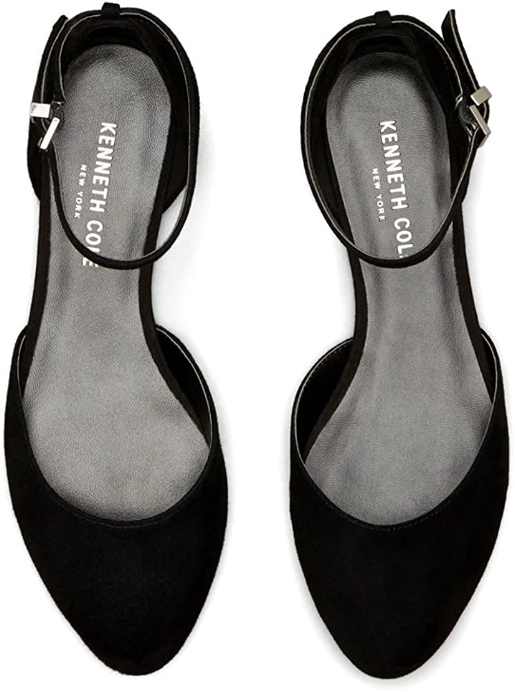 Kenneth Cole New York Womens Willow Flat with Ankle Strap Shoe Black