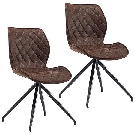 Sedie Metallo E Cuoio.Duhome 2x Sedia Da Sala Da Pranzo In Tessuto Effetto Cuoio Marrone