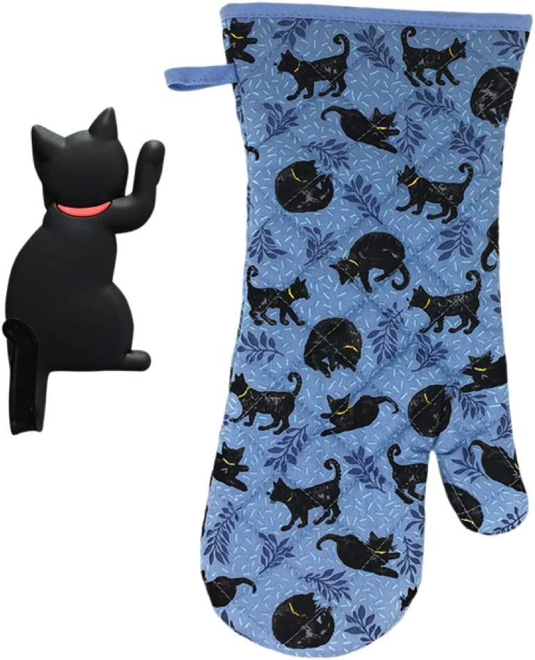 Rex and Rover Cat Kitchen Gifts - Oven Mitt with Black Cat Shaped Magnetic Hook - 2 Piece Set