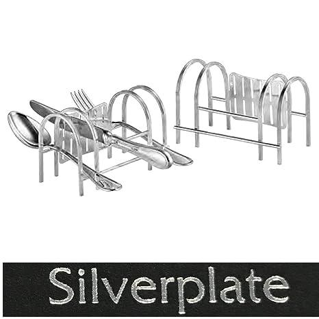 Soporte para cubiertos y bandeja L 14 cm Plata Plated bañado en Top vearbeitung