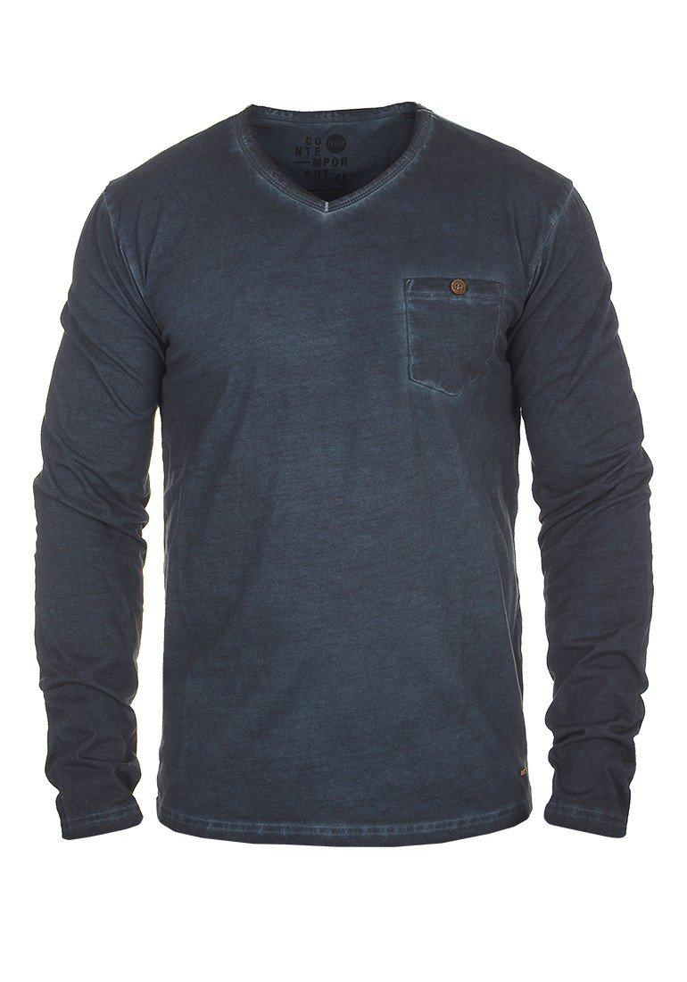 !Solid Terkel Herren Longsleeve Langarmshirt Shirt mit V-Ausschnitt und Brusttasche aus 100% Baumwolle