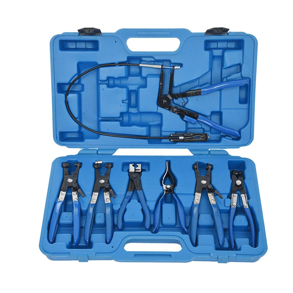 7 Piece Hose Clamp Pliers Set Combination Package Mixed Tool Set Hand Tool Kit with Plastic Toolbox Storage Case Mechanic's Hose Clamp Ring Pliers Tool Set (General Repair Hand Tool Set, Blue)