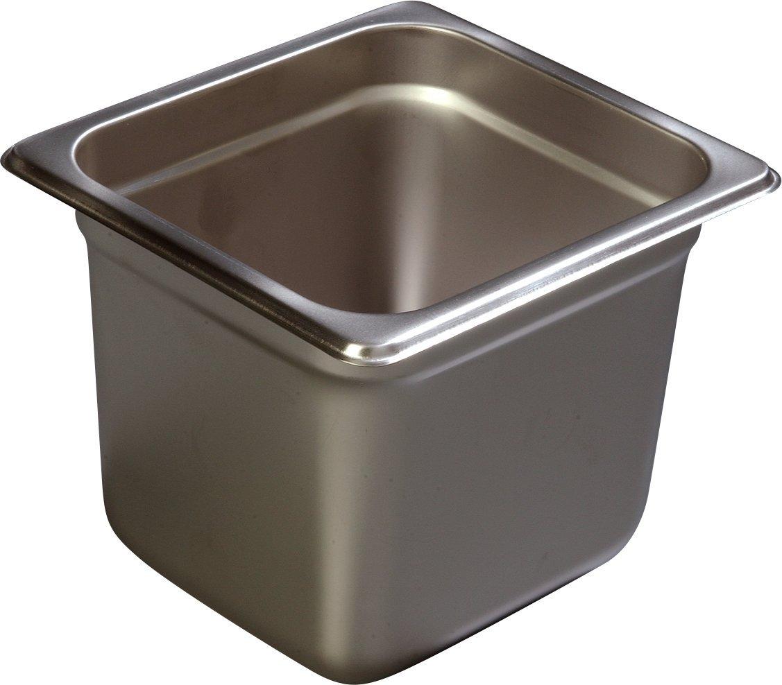 Carlisle 607166 Stainless Steel 18-8 DuraPan Light Gauge 1/6 Size Anti-Jam Food Pan, 2.8 quart Capacity, 6'' x 6.25'' x 6.88'' (Case of 6)
