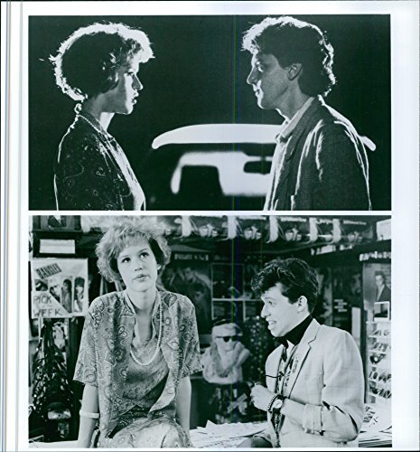 """Harvest photo of Different scenes from the movie """"Pretty in Pink"""", with Molly Ringwald as Andie Walsh, Andrew McCarthy as Blane McDonough and Jon Cryer as Philip F. """"Duckie"""" Dale, 1986."""