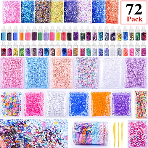 Slime Supplies Kit, AUNOOL Slime Stuff Charm Include Foam Balls, Fishbowl Beads, Glitter, Fruit Slices, Pearls, Slime Mylar Flake, Slime Containers for DIY Slime Making Kit, Girl Slime Party