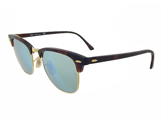 7bb897cb2190 New Ray Ban Clubmaster Flash RB3016 114530 Tortoise Gold Grey-Green Mirror  51mm Sunglasses  Amazon.co.uk  Clothing