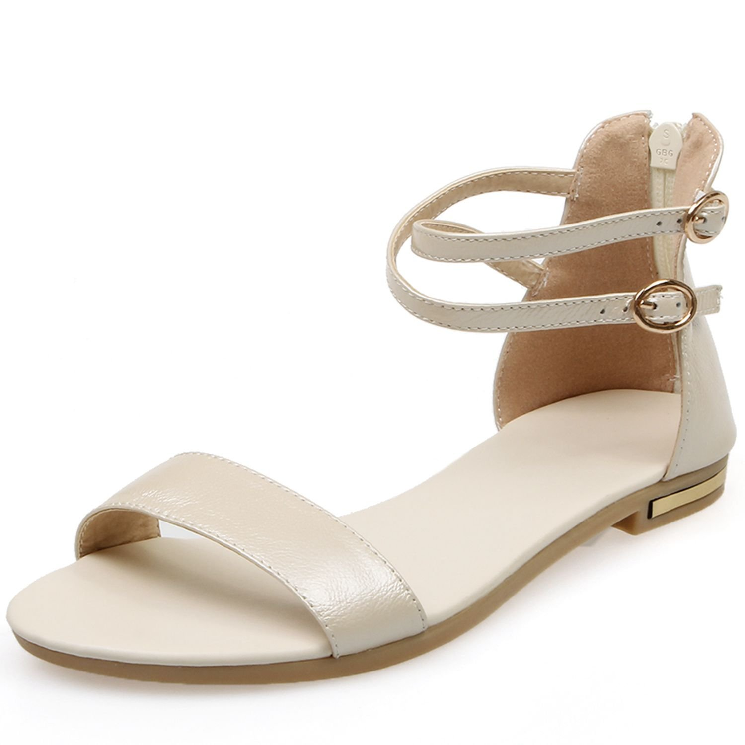 VIMISAOI Women's Leather Buckle Strap Summer Open Toe Ankle Strap Zip Casual Flat Sandals Shoes B0794MBYF9 9.5 B(M) US|Creamy White