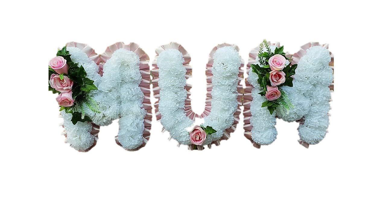stems of elegance MUM- 3-Letter-Word-Silk-Artificial-Funeral-Flowers-Wreath-Memorial-Grave-Tribute