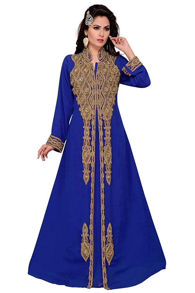 bluee Arabic attire Women's Muslim Maxi Farasha Long Sleeve Embroidered Party Kaftan Abaya for Party