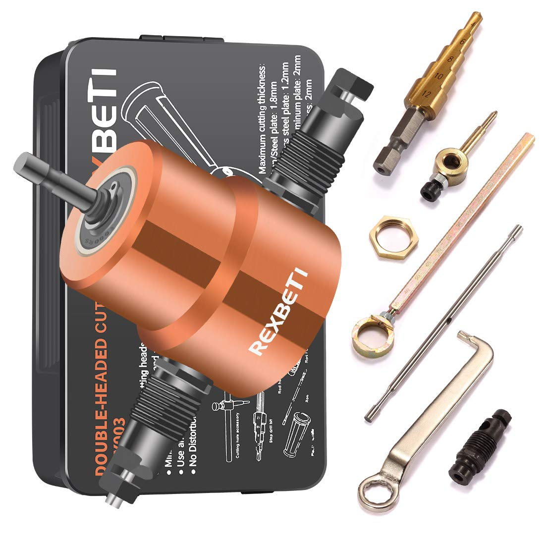 Double Headed Sheet Metal Nibbler REXBETI Drill Attachment Metal Cutter with Extra Punch and Die 1 Cutting Hole Accessory and 1 Step Drill Bit Perfect for Straight Curve and Circle Cutting Gold