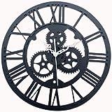 Foxom Horloge Murale Ronde Rétro Vintage 3D Décoration Engrenage Chiffres Romains Acrylic Pendules murales, Noir
