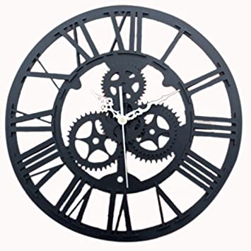 Foxom Horloge Murale Ronde Rétro Vintage 3D Décoration Engrenage Chiffres  Romains Acrylic Pendules murales, Noir fb009021b561
