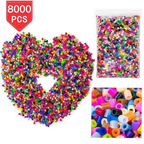 PROLOSO Fused Beads DIY Perler Refill Kit Beading Supplies Fun Fusion 8000 Count 36 Colors ()