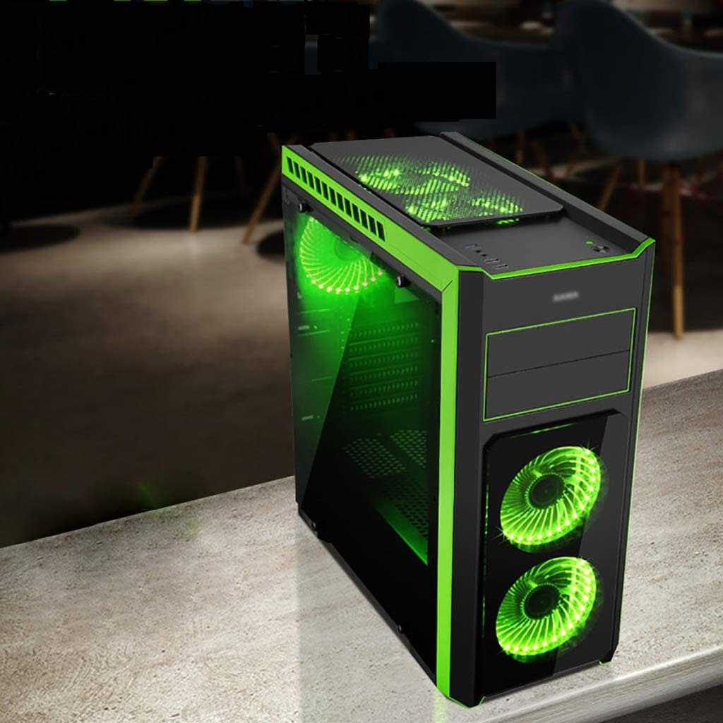 Gaming Case,GreenMid-Tower ATX//M-ATX PC Gaming Computer Case,Acrylic Glass,Support Water Cooling,for Game Enthusiast