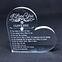 Why I Love You 10 Reasons Unique Keepsake and Paperweight Engraved Heart Crystal Wedding Presents for the Couple