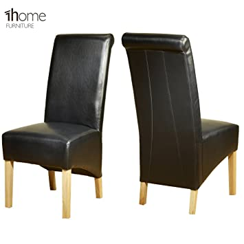 1home Leather Dining Chairs Scroll High Top Back Oak Legs Furniture 1 Pair  Black: Amazon.co.uk: Kitchen U0026 Home