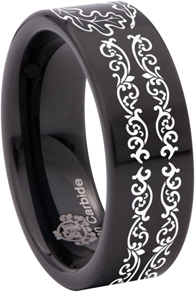 Friends of Irony Black Tungsten Carbide Oak Leaf Knotwork Ring 8mm Wedding Band Anniversary Ring for Men and Women Size 6