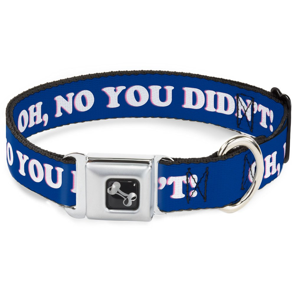Buckle-Down Seatbelt Buckle Dog Collar OH, NO You Didn't    Navy Purple White 1  Wide Fits 11-17  Neck Medium