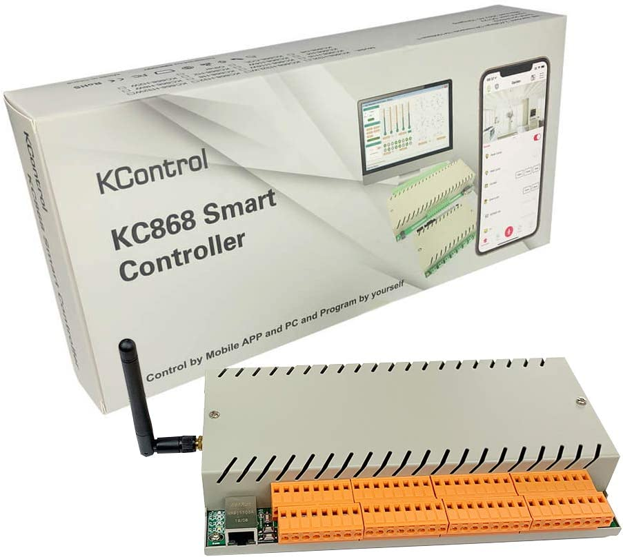 【Upgraded】KControl 2 in 1 WiFi Ethernet Relay 32 Channel Smart Switch Controller Module DC12V 10A DIY Home Automation Remote Control with iOS Android APP KINCONY For WAN And LAN Without Internet