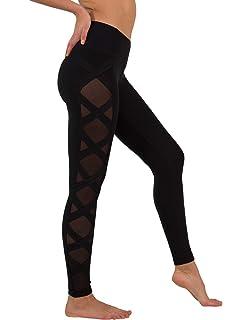 9668b23b01a0d6 90 Degree By Reflex Women's High Fashion Criss Cross Workout Leggings Sheer  Mesh Panels