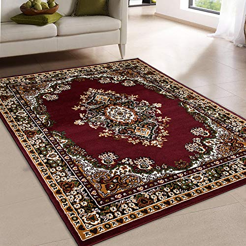 Maxstock Taj Mahal Collection Persian Traditional Design Rectangular Area Rugs -Burgundy/Ivory/Green/Beige (5 Feet x 7 ()
