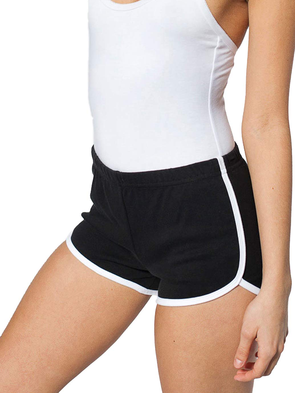 ALLUSIVE Women's Striped Athletic Shorts, Inspiration Vintage 80s Style Running Shorts Women, Classic Style Modern Comfort, Sexy Single Stripe Gym Workout Shorts (X-Large, Black/White)